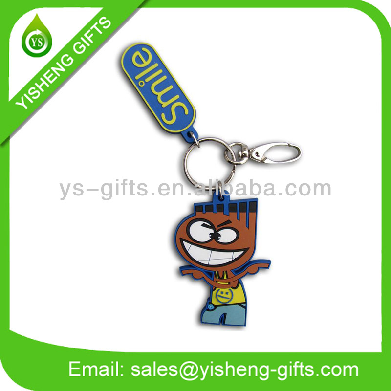 Fashion soft pvc smile keychain smiley face keyring ball key chain