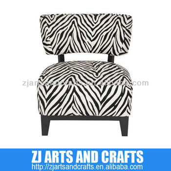 0477 modern sofa (Black and White Chanelle occasional chair in a zebra design with matt brown base and legs.)