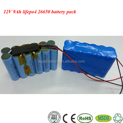 12V 9Ah rechargeable 26650 lifepo4 battery packs