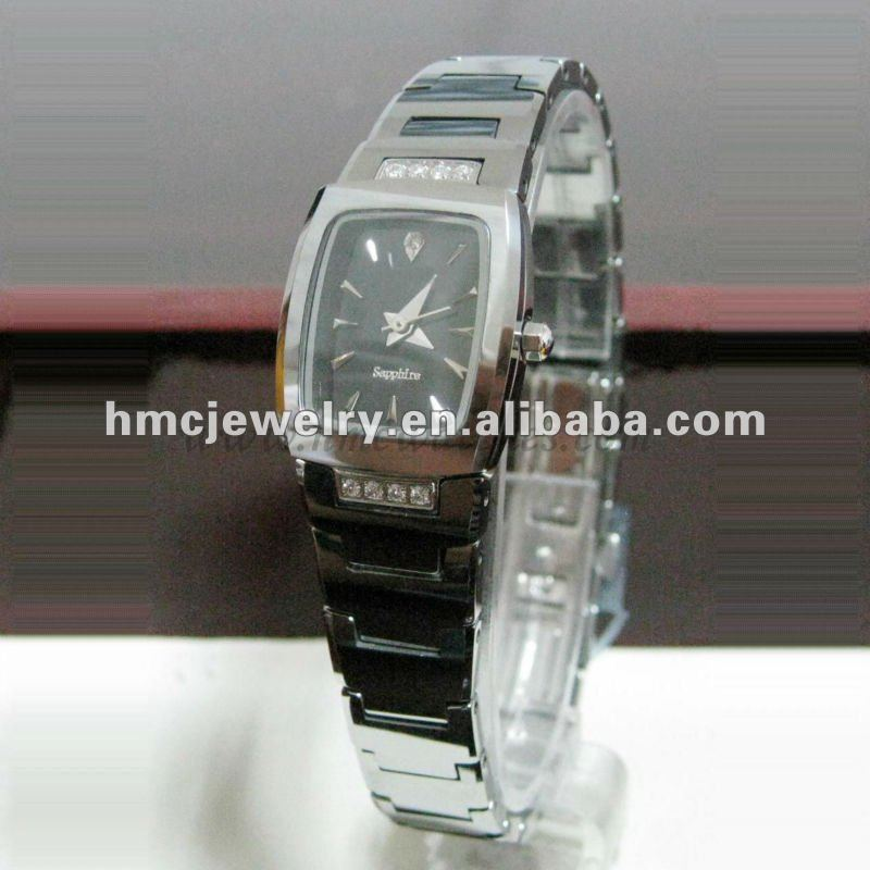Fashion Trendy Tungsten Wrist Watches For Men and Women With CZ Stones