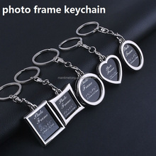 Creative Cute Mini Heart Square Round Oval Shaped Insert Metal Photo Frame Keychain Keyring Photo Viewer