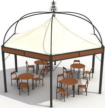 Grand Wrought Iron Large Gazebo Seating