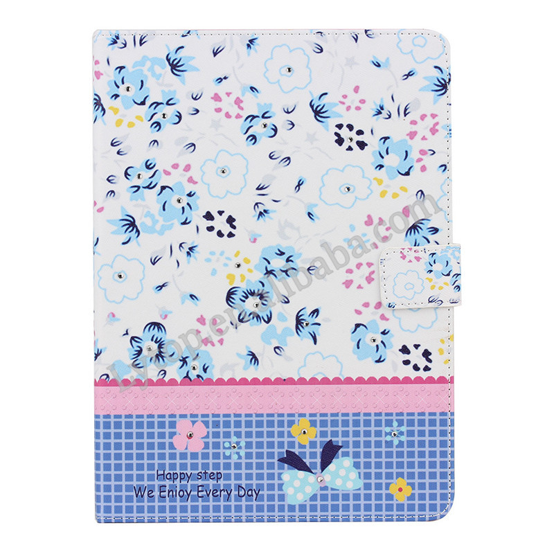 Diamond flower Printing leather case for iPad Air 2, for ipad 6 cute case