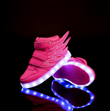 Led wing kids shoes light up sport shoes glow sneakers