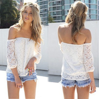Walson top sales elegant Hollow Yarn white lace blouses in Boat Neck T-shirt embroidery blouse boutique ing