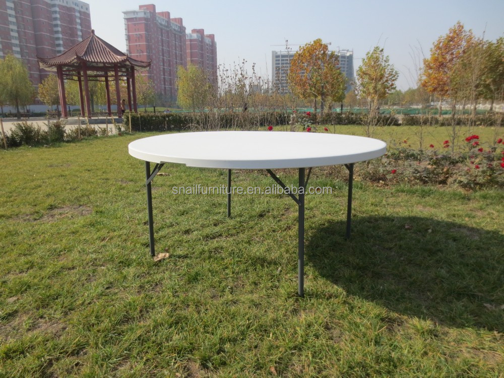 white salable round elegent durable popular hdpe top steel frame foldable outdoor garden plastic banquet table SF-Y150