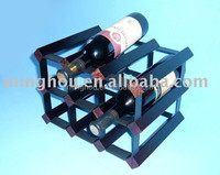 Good quality 6 bottles practical cheery wood and metal wine holder