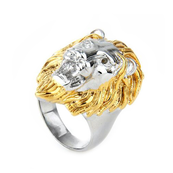 gold stainless steel cool lion head ring for men