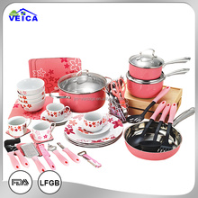 Color coating 59pcs kitchen utensils stainless steel pot and pan kitchen set