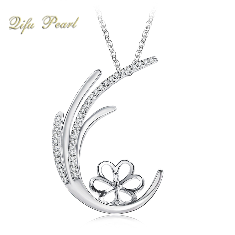 18K White Gold Diamond Pendant Jewelry Mounting for Pearl