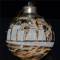 New design hanging christmas ornament and decoration, clear glass christmas printed ball with cups and LED light