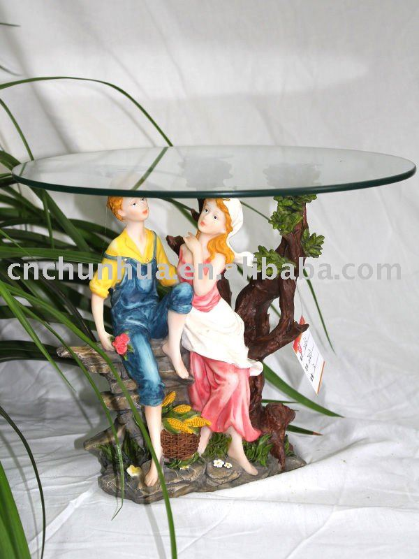 Love Figurine Resin Crafts Glass Tea Table