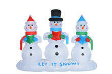 180cm high polyester Christmas inflatable three snowmens reading book outdoor decoration