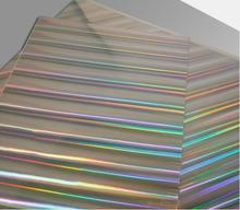 Upright holographic heat transfer laminated paper