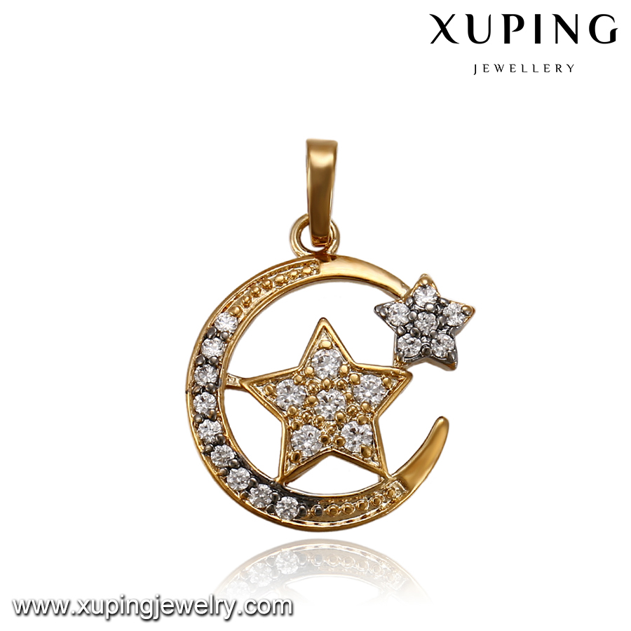 simple gold plated design moon and star shape zircon pendant