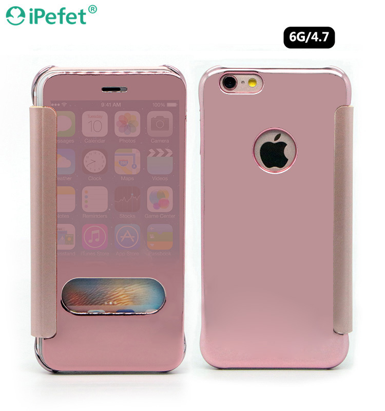Smart Ultra Slim Electroplated Mirror View Clear Leather Phone Case Cover For iPhone 6