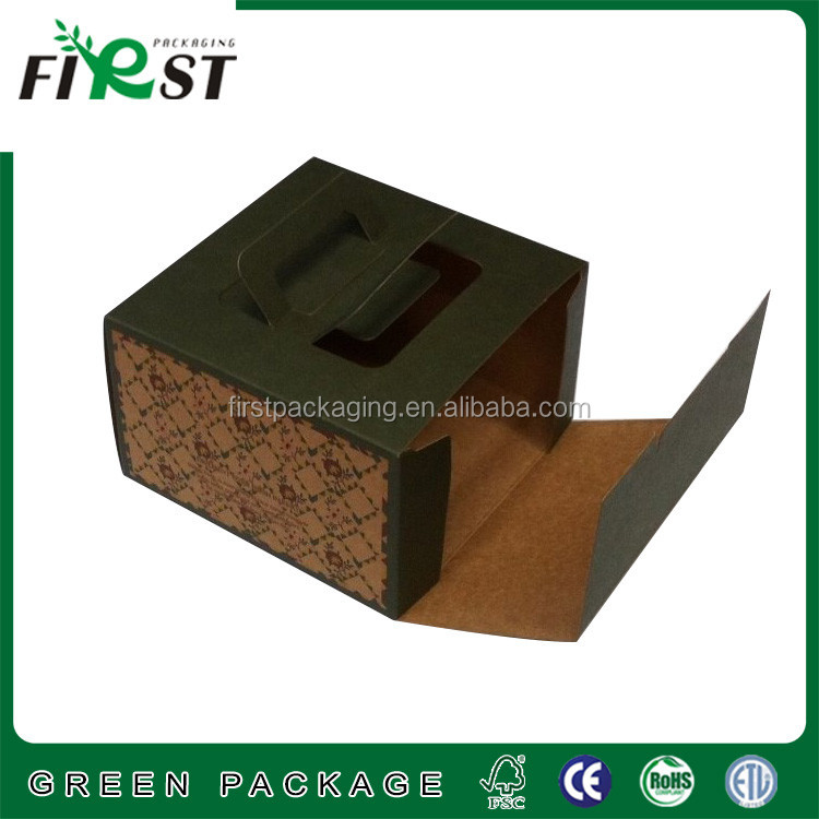 folding paper cardboard cake carry box, origami folding paper box for cake,Handle paper cupcake boxes
