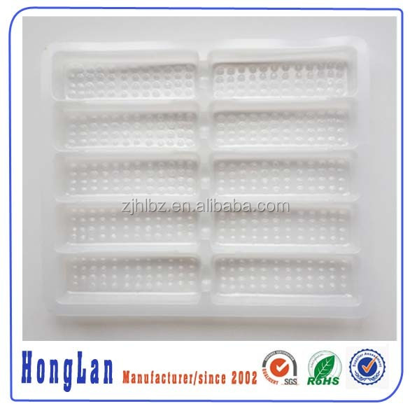 Customized milk white blister plastic medicine tray for medicine bottle packaging