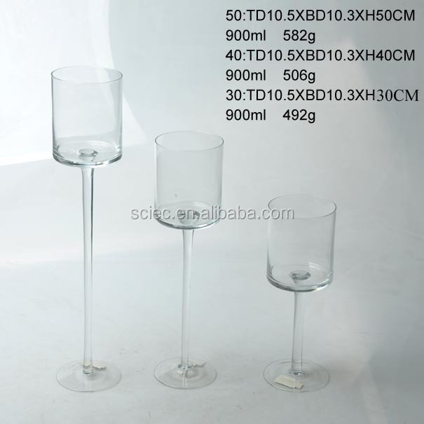 wholesale long-stemmed glass candle holder