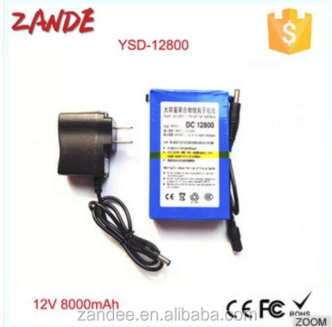 Portable Super rechargeable DC 12V 8000mAh lithium ion rechargeable battery dc-12800 With CE/FCC/Rohs