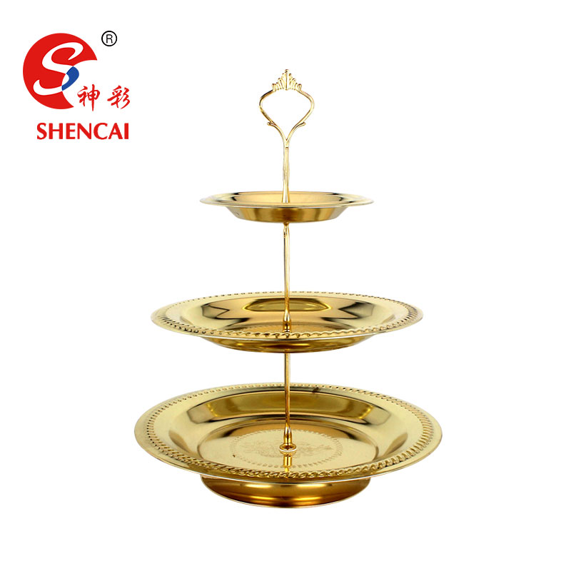 Hot Selling Stainless Steel 3 Tier Fruit Tray Wedding Decoration Tray Metal Snacks Serving Tray