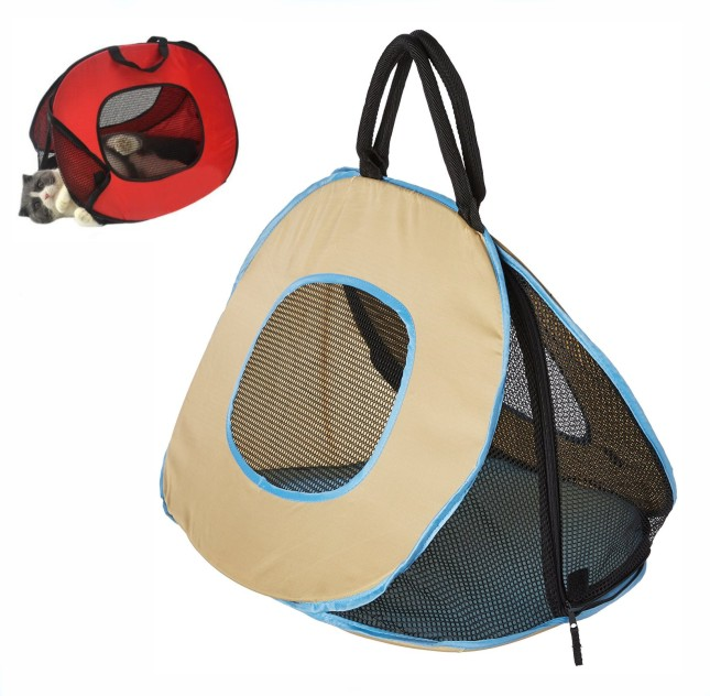 Pet Dog Cat Outdoor Travel Handing Bag Tote Portable Closure Ultra Light Cat Carrier with Double Zipper