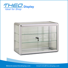 Three Shelves Small Aluminum Frameed Glass Countertop Display Showcase