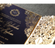 Elegant royal gold wedding invitations blue wedding invitations luxury laser cut wedding invitations with affordable price