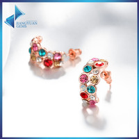 2016 fashionable multi colored crystal earrings