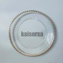 Silver /gold bead clear plastic charger <strong>plate</strong> for wedding dinner