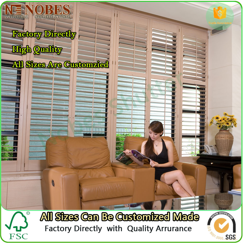 Interior wooden Plantation Window Shutter louvered Shutter Factory Directly
