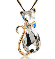 Custom Design Blue Crystal Rhinestone 2016 Cute Cat Necklace With Low Price 24k gold necklace N0215