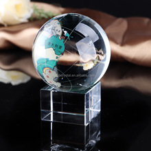 Colored Map Glass Crystal globe paperweight MH-Q0226
