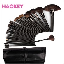 32 pcs black soft horse hair traveling cosmetic brush set