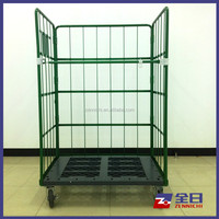 Foldable Roll Mesh Container with plastic pallet