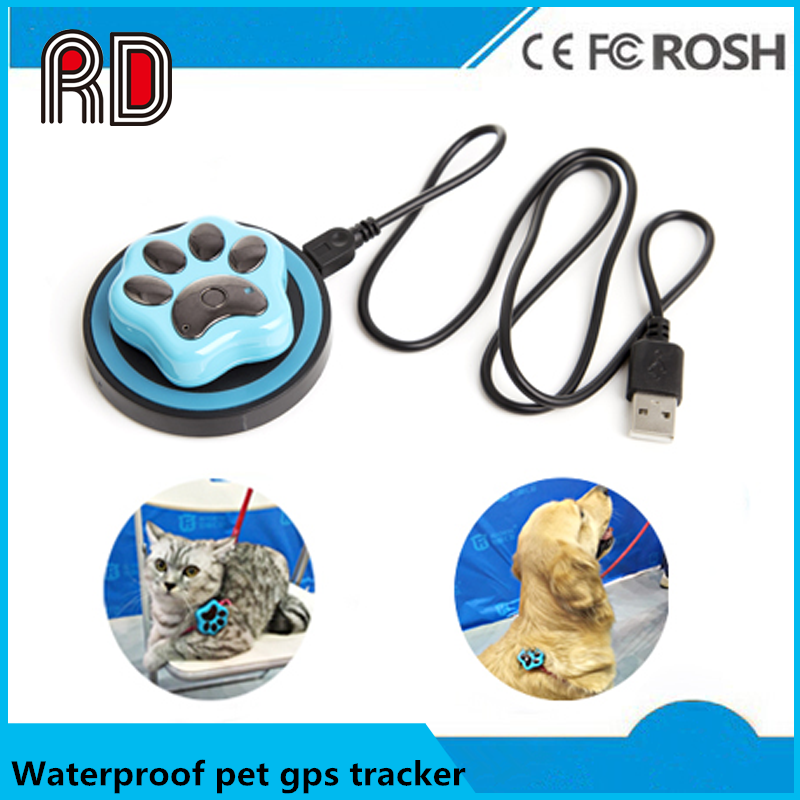 Sim card Paw style Real Time GSM/GPS Dog Collar Tracker for med/Large Pet,Kid,Cat Dog , Collar mini gps tracker waterproof