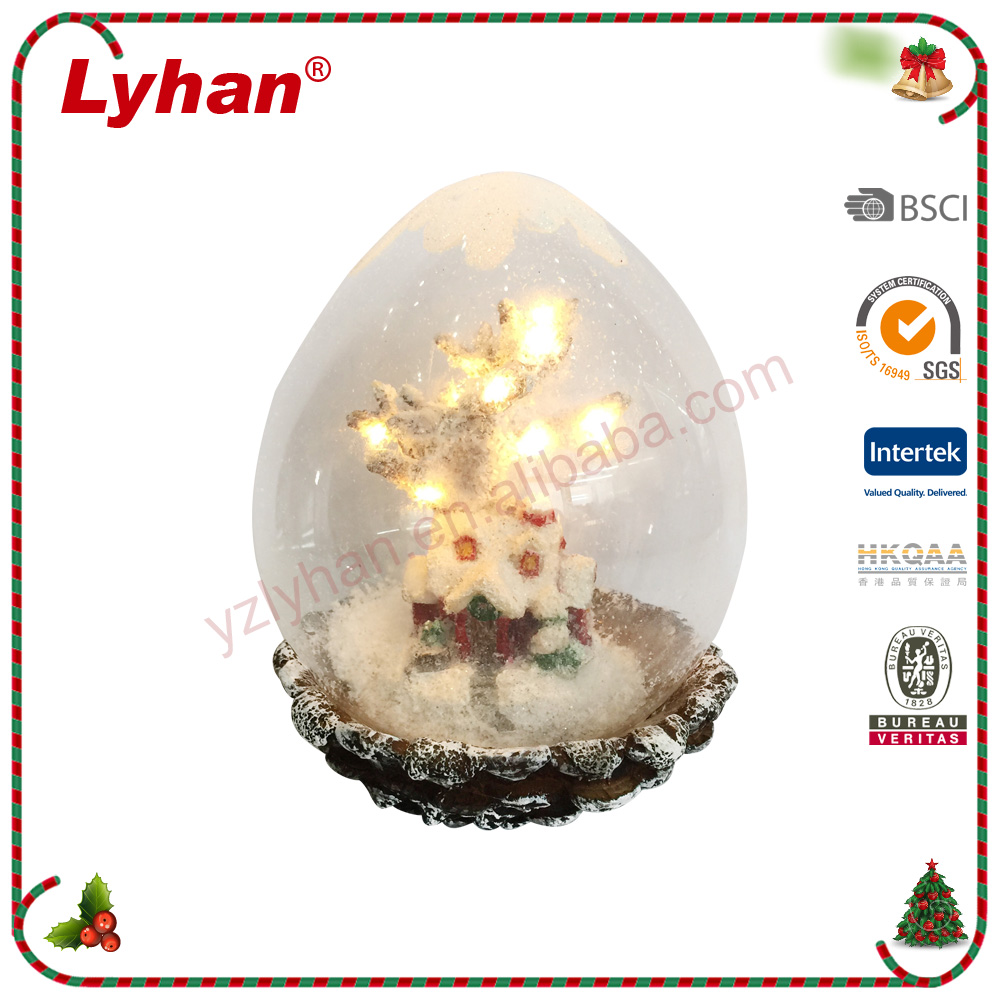 Lyhan indoor christmas decoration with warn led lights resin house/birds/squirrel
