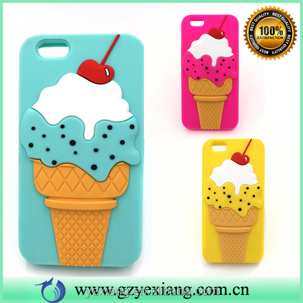 Cell phone accessories cherry ice cream design silicone phone case for iphone 5g back cover