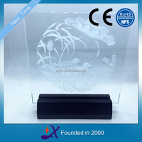New Premium LED Light Wooden Base for Trophy 2D Crystal Glass Acrylic Plaques Sign Foundation