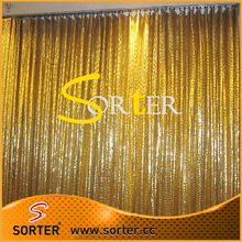 Luxurious Shimmer Metal Sequin Fabric Gold Curtains