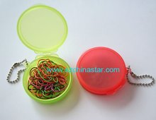 Fancy shapes PET coated paper clip in plastic box with chain