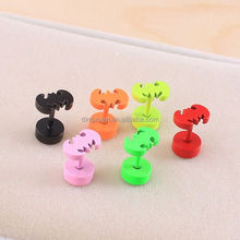 Latest model fashion Popular colorful batman design double sided earrings for boys