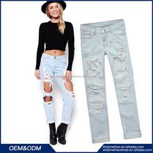 Hole Jeans Straight Pants Ripped With Holes Ladies Denim Shorts Skinny Jean Pants casual ripped jeans for womens