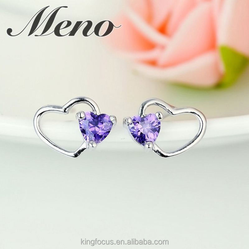 Meno s925 silver stud lady Korean style fashion all-match heart shaped jewelry gift earrings