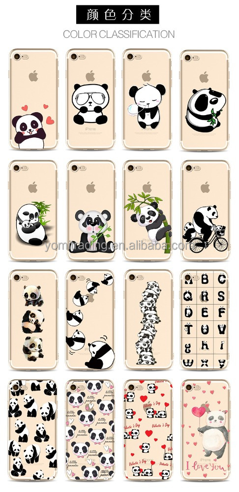 Factory OEM Painted cute Panda TPU phone shell customized logo phone case for Iphone7plus