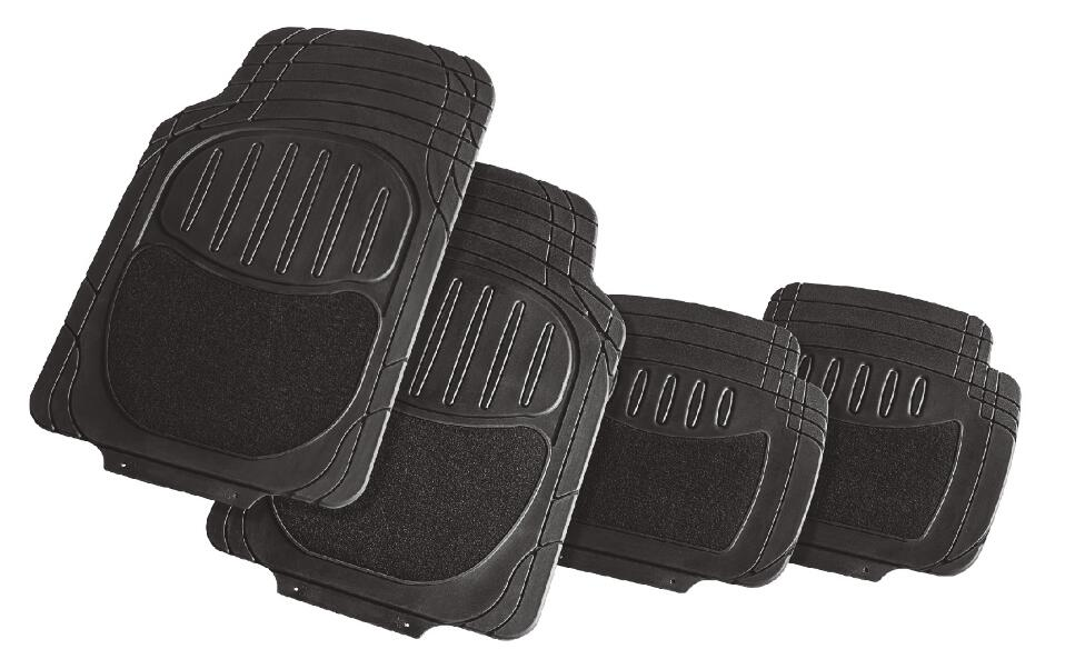 4pc set black universal size trimmable auto floor mats, black rubber car mats