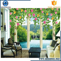 Latest 3d wall murals wallpaper Designs landscape pattern china wholesale price