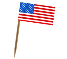 Disposable Colored Toothpick With Flag Birch Wood Sticks