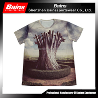 custom sublimation skull tee shirt&dye sublimated dry fit t shirt&tee shirt printing