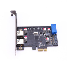 SuperSpeed internal19-pin USB 3.0 and external 2-Port USB 3.0 PCI-E PCI Express Riser Card